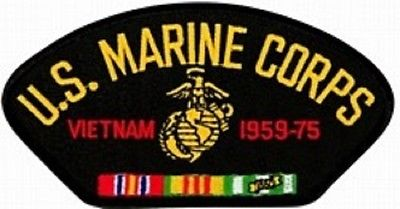US Marine Corps Vietnam Veteran with Ribbons Black Hat Patch