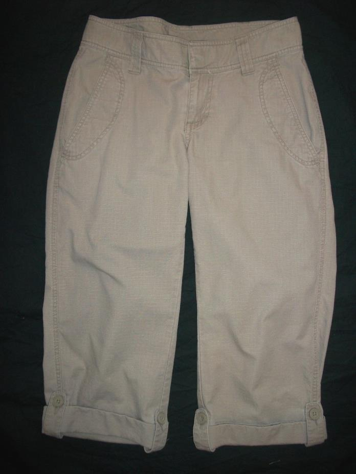 THE NORTH FACE Khaki Tan Ripstop Roll-up  Hiking Capris Shorts Women's Size 2