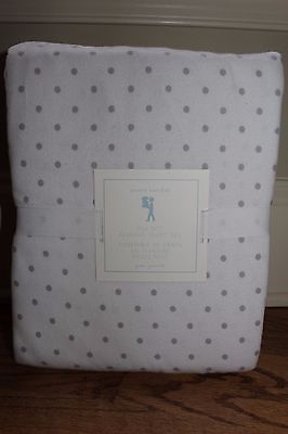 NWT Pottery Barn Kids Pin Dot flannel queen sheet set gray polka
