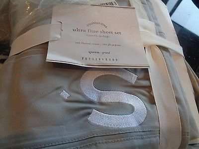 Pottery Barn Ultra fine 700 TC gray grey Queen  Sheet Set Monogrammed
