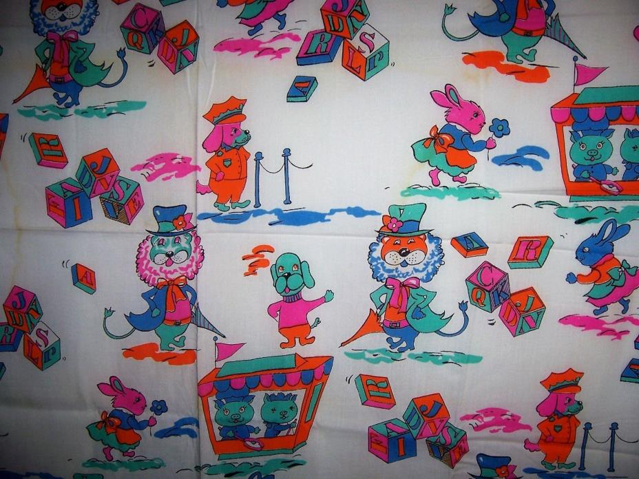 Vintage Childrens Novelty Fabric, Bright Colors Cotton woven 45