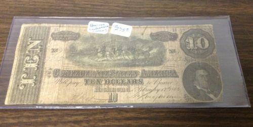 confederate states of america ten dollar bill