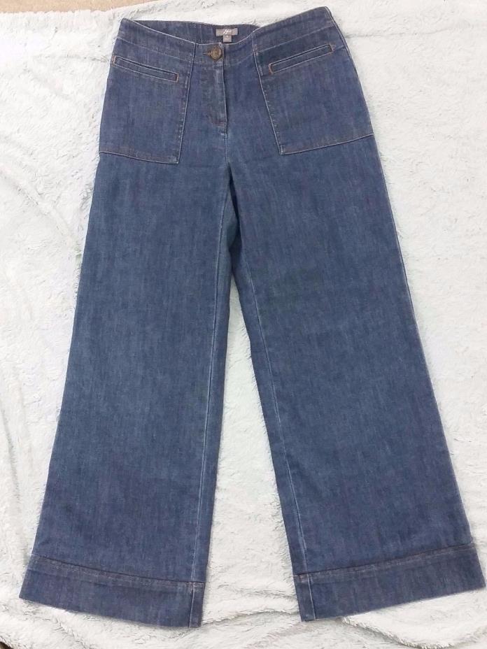 J Jill Womens 4 Modern Retro Wide Leg Medium Wash Denim Jeans Flat Front