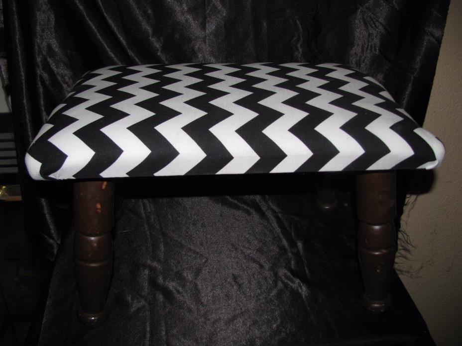 Chevron Pattern wood base foot stool black & white