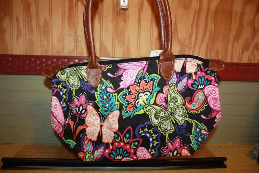 butterfly tote zipper top, canvas outside double handles 10