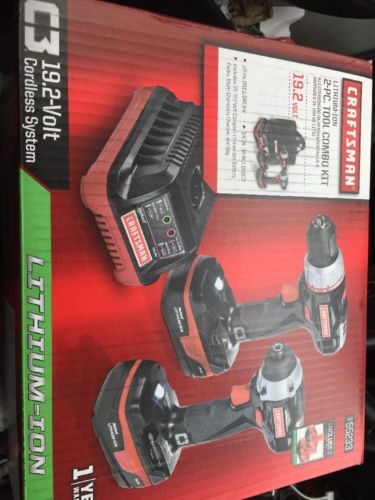 Craftsman 55233 2-Tool C3 19.2V Lithium-Ion Cordless Tool Combo Kit NEW Open Box