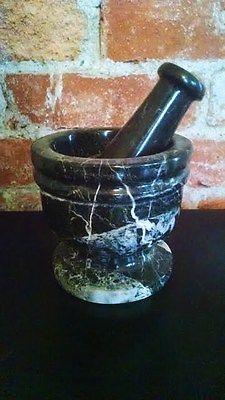 Black Zebra Marble Mortar And Pestle