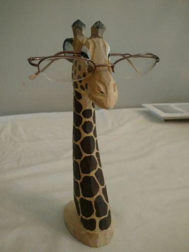 Wooden Giraffe Glasses Holder