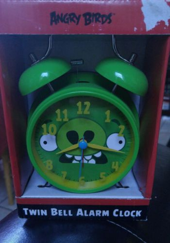 Angry Birds Alarm Clock - Analog - Bell - Green (takes AA Batteries)