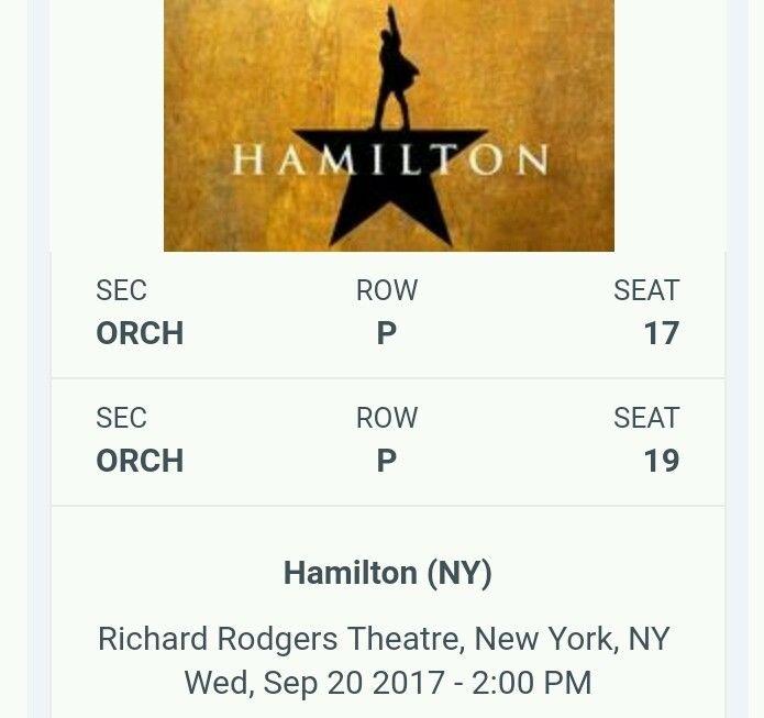Hamilton 2 Tickets Broadway NY Orchestra 9/20 Wed 2:00 Richard Rodgers Row P