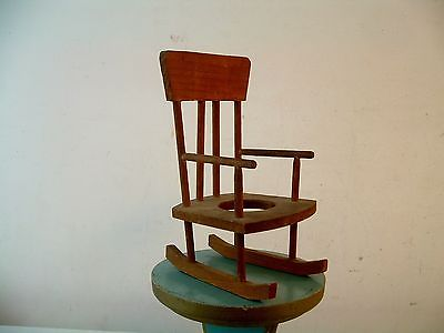 Vtg Wooden Childs Doll House Toy Rocking Chair Rocker Plant Holder Handmade NICE