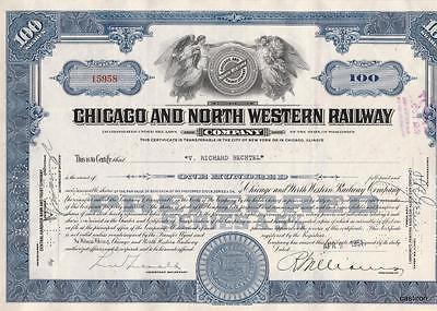 RARE BLUE CHICAGO & NORTH WESTERN RAILWAY STOCK CERTIFICATE RAILROAD 1951