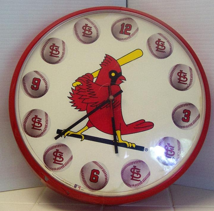 St Louis CARDINALS Wall Clock MLB 1994 P & K Products  USA Works Great 12