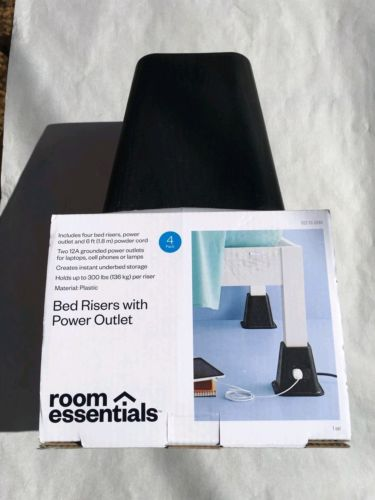 NEW Room Essentials Bed Stands Lifts Risers W/ Power Outlet Set of 4