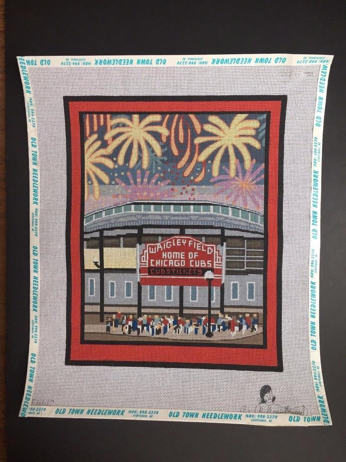 The Needlepoint Broad Hand-painted Needlepoint Canvas Wrigley Field/SG/Threads