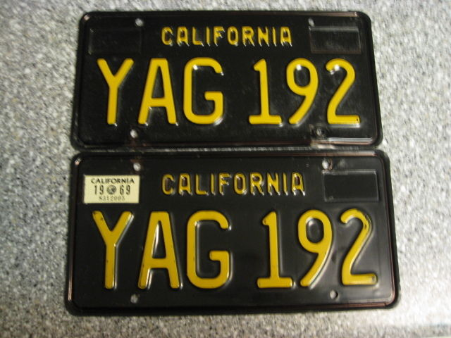 1963 California License Plates, 1969 Validation, DMV Clear Guaranteed, EX