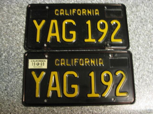 1963 California License Plates, 1969 Validation, DMV Clear Guaranteed, EX