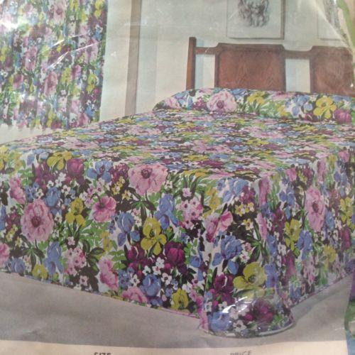 Vintage Sears Bedspread Twin Iris Lilac Green Flowers Bedding NEW NOS Girls