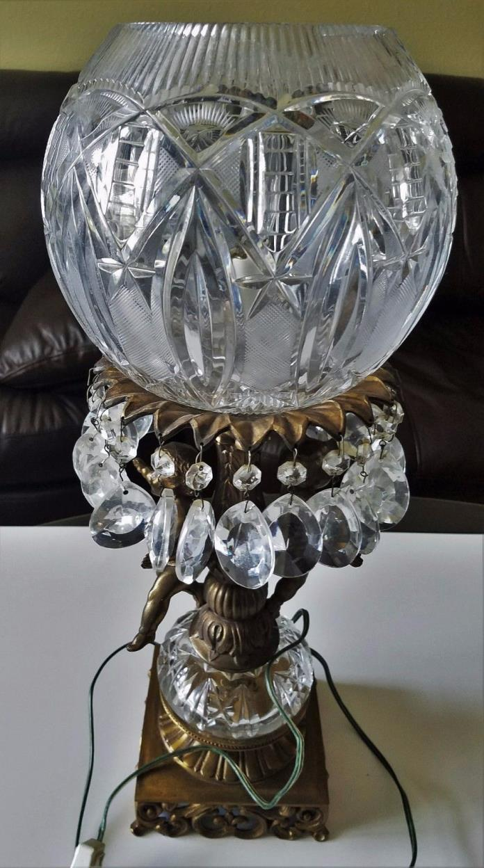 Antique/Vintage Cut Glass Crystal Angles Brass Lamp With Prisms 21