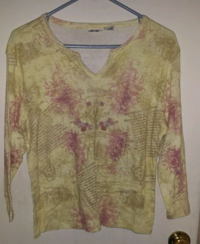 Cherokee Yellow XL Cotton Top Gold Glitter Sparkles in Material See Measurements