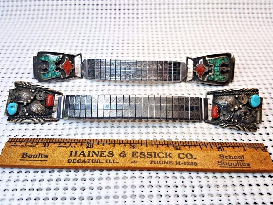 2 Men's Watch Band - Southwest Sterling Turquoise & Coral w/Metal Stretch Links