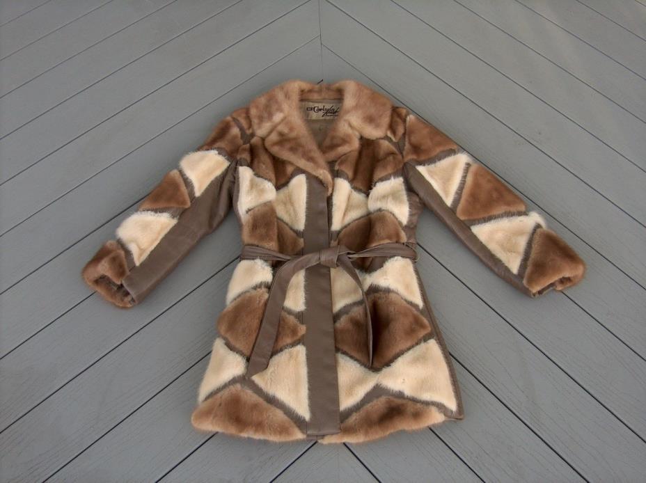 Vintage C.F. Carlson Brown Tan Patchwork Mink Fur Leather Coat Women's 8-10