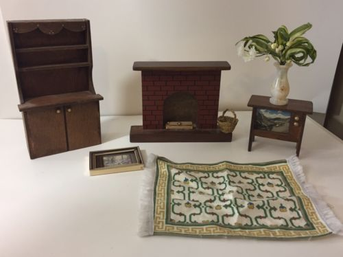 Vintage Doll Sized Dollhouse Furniture Wooden Lot