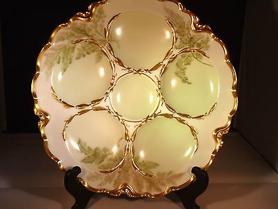 Antique Haviland Limoges France 5 Well Green Gold Oyster Plate