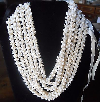 Vtg Traditional 100% Ni'ihau Shell Triple Lei Strand Made in Ni'ihau Hawaii 40
