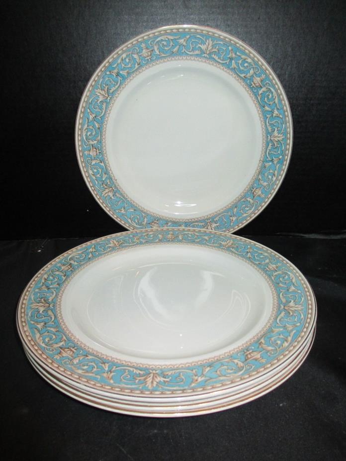 Crown Ducal Atlanta Turquoise - Brown Scrolls Turquoise Border 4 Dinner Plates