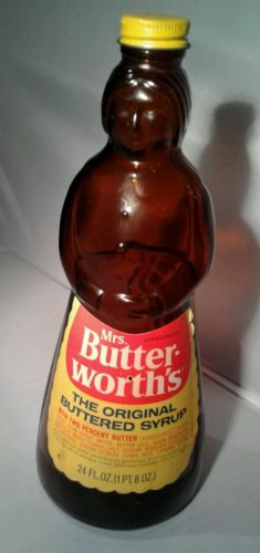 Vintage MRS BUTTERWORTH`S Glass 2 % BUTTER Syrup BOTTLE with Metal Lid & Label