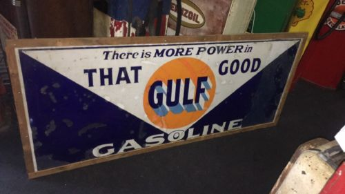 Gulf  GASOLINE SERVICE STATION  PORCELAIN 6ft By 3ft