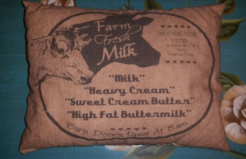 FARM FRESH MILK DAIRY COW Rustic Primitive Shabby Chic Country Chair PILLOW NEW