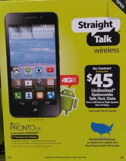 NEW Straight Talk Pronto 4g LTE Prepaid Cell Phone FREE SHIPPING! Android Huawei