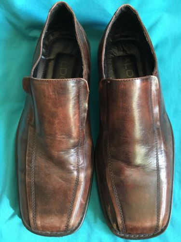 Men's Aldo Brown Leather Dress Shoes Slip On Square Toe Formal Eur 43/US 10
