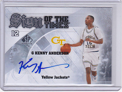 KENNY ANDERSON GEORGIA TECH YELLOW JACKETS UPPER DECK SP AUTO AUTOGRAPH CARD