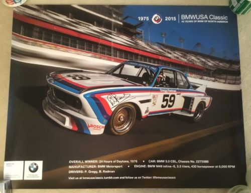 1975-2015 Brian Redman Signed 40 Years of BMW North America 3.0 CSL #59 Poster