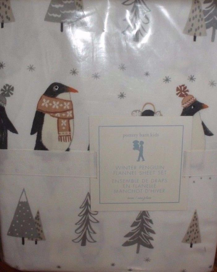 COTTON New Pottery Barn Kids Winter PENGUIN Twin SHEETS grey