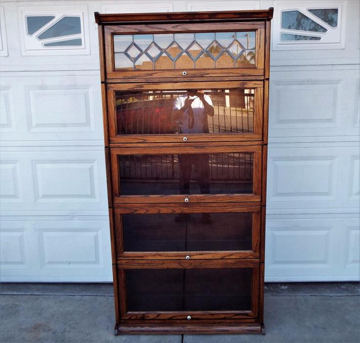 """Vintage 73"""" Tall Wooden Barrister 5 Section Bookcase Lawyer Cabinet Leaded Glass"""