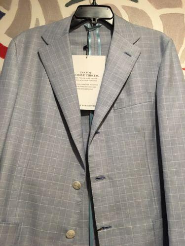 NWT BRIONI Sky Blue Silk-Linen-Wool Sport Coat 40 R (Eu 50)