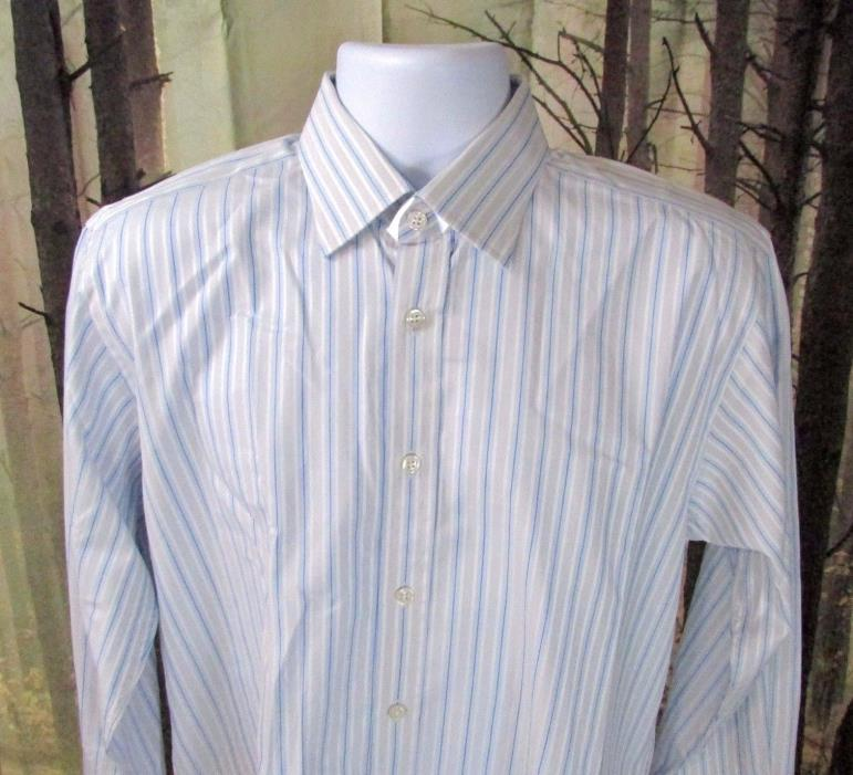 Charles Tyrwhitt Mens 15 1/2 33 Inch Dress Shirt Blue Striped 100% Cotton