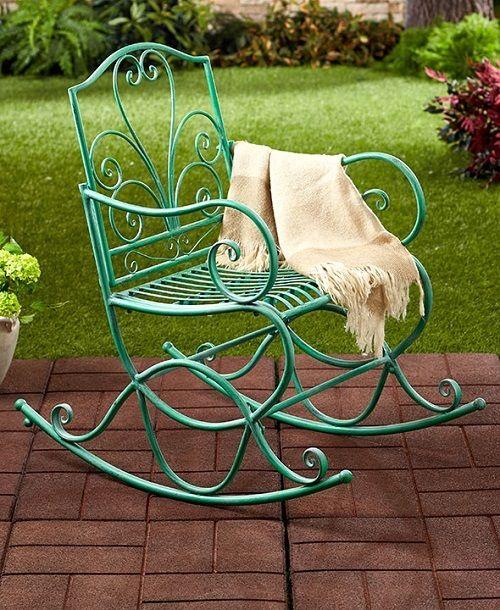 Outdoor Metal Rocking Chair Antique Jade Iron Porch Deck Garden Yard Patio Lawn