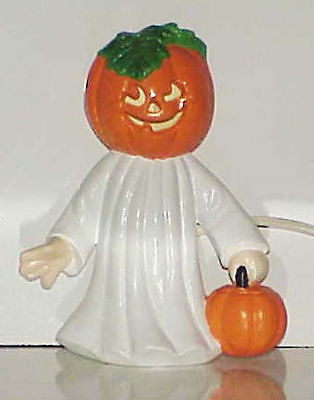 Ceramic Halloween Lighted PUMPKIN-HEAD GHOST 7-1/2