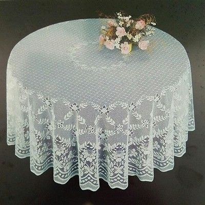 Fine White Lace Round Tablecloth 90