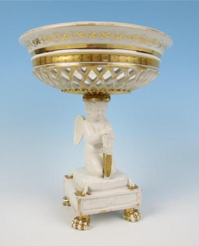 Antique French Paris Porcelain Gilt Biscuit Porcelain Corbeille Compote Cherub