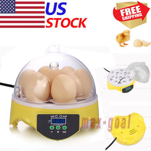 7Eggs Digital Clear Egg Incubator Hatcher Turning Temperature Control Duck BirdV