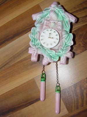 Vintage 1950's Pink Clock Mid Century Cuckoo Clock Planter 1960's Wall Clock