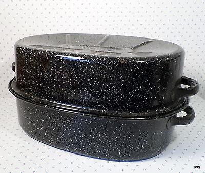 DRIP TOP Black GRANITEWARE Enamelware ROASTING PAN w/ LID * Turkey * Ham