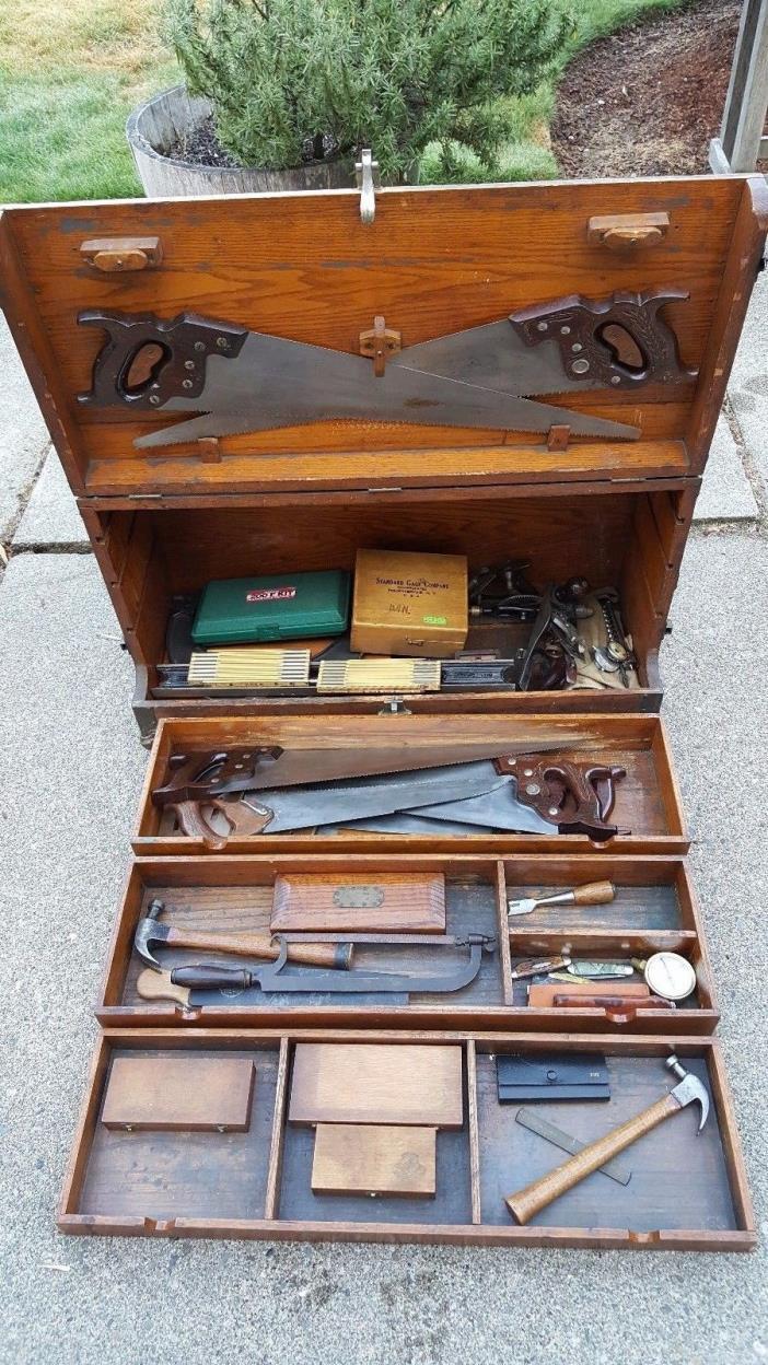 Large Antique Oak Carpenter Craftsman Tradesman Wood Tool Box 6 Disston Saws