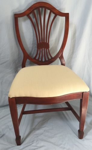 Pair Chestnut Brown Wood Fanback Armless Dining Chairs Beige Fabric Seats